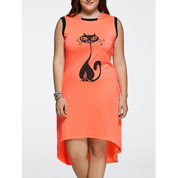 Asymmetrical Cat Pattern Hooded Dress