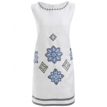 Elegant Floral Embroidered Sleeveless Slimming Dress