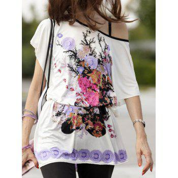 Fresh Floral Print Loose-Fitting Belted T-Shirt Dress