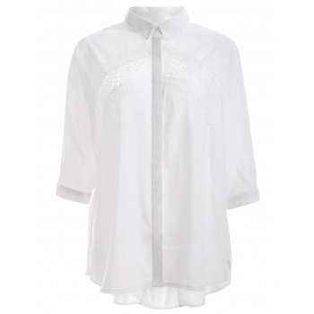 Elegant Lace Trim High Low Hem Chiffon Shirt