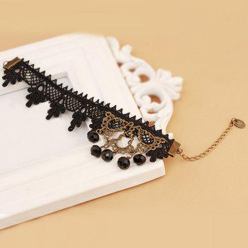 Lace Crochet Faux Crystal Anklet -  BLACK