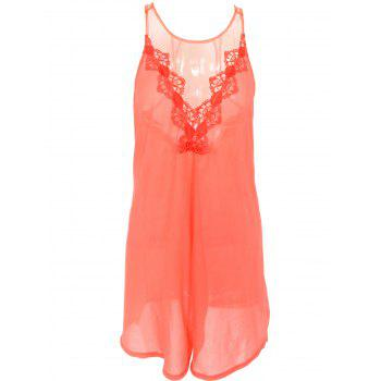 Buy Lace Insert See-Through Backless Dress ORANGE RED