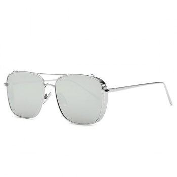 Retro Style Metal Frame Rectangle Mirrored Sunglasses For Women