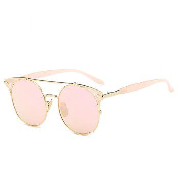 Fashion Crossbar Pink Cat Eye Mirrored Sunglasses For Women