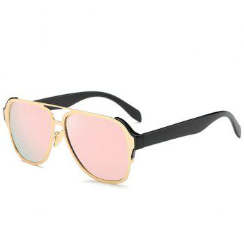 Fashion Cut Out Pink Pilot Mirrored Sunglasses For Women