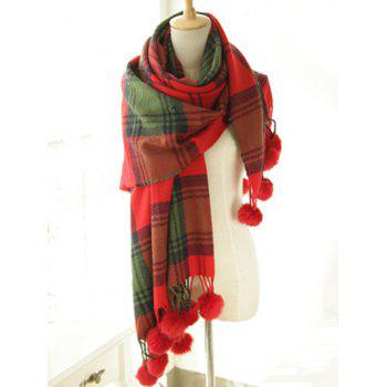 Stylish Plaid Pattern Pompon Pendant Shawl Wrap Pashmina