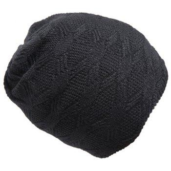 Stylish Rhombus Mesh Design Winter Warm Men's Knitted Beanie - BLACK