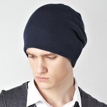 Stylish Solid Color Double-Deck Winter Warm Men's Knitted Beanie - CADETBLUE
