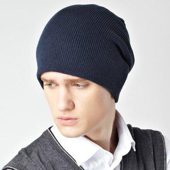 Stylish Solid Color Double-Deck Winter Warm Men's Knitted Beanie