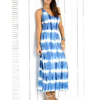 Brief Sleveless Criss-Cross Back Tie-Dye Maxi Dress For Women