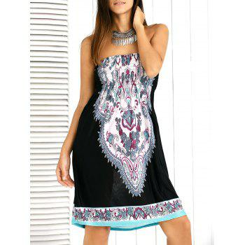 Paisley Ornate Printed Shirred Strapless Mini Summer Dress