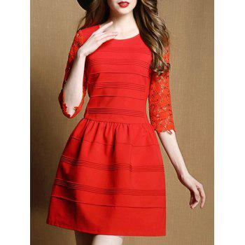 Stylish 3/4 Sleeve Lace Spliced Slimming Women's Dress