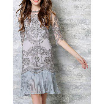 Chic Cami Tank Top + Embroidery Ruched Splicing Dress Women's Twinset