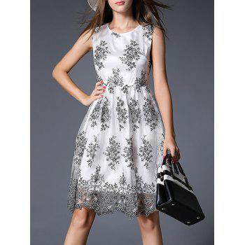 Trendy Sleeveless Embroidered Voile Spliced Women's Dress