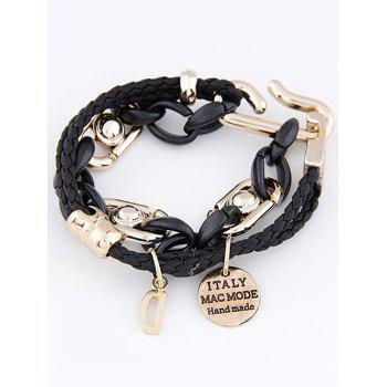 Disc Letter Braided Layered Bracelet