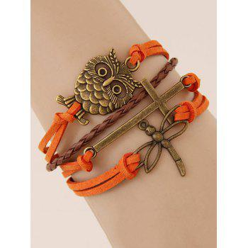 Dragonfly Cross Owl Braided Bracelet