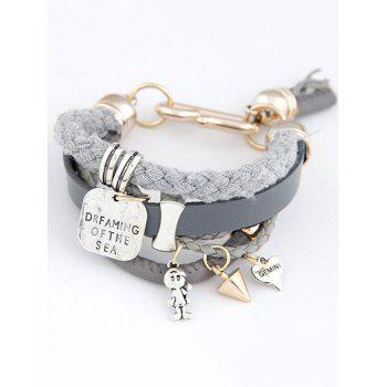 Engraved Faux Leather Braided Bracelet