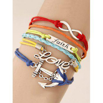 Anchor ID Braid Layered Strand Bracelet