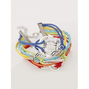 Anchor ID Braid Layered Strand Bracelet - COLORMIX