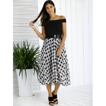 Chic Off The Shoulder Plaid Belted Dress For Women - BLACK 2XL