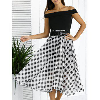 Chic Off The Shoulder Plaid Belted Dress For Women