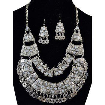 Retro Coin Fringe Statement Necklace and Earrings