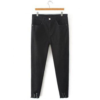 Oversized Frayed High Waist Denim Pants