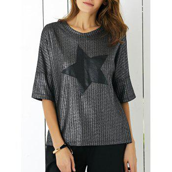 Star Print Metallic T-Shirt