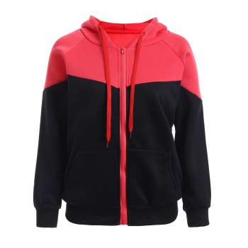 Zipped Color Block Black Red Hoodie