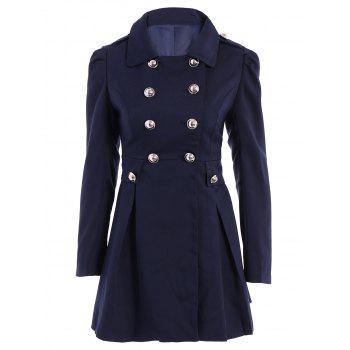 Ladylike Turn-Down Collar Solid Color Epaulet Puff Sleeves Ruffled Double-Breasted Trench Coat