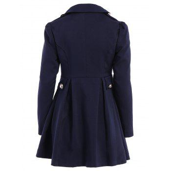 Ladylike Collier tournant Solid Color Epaulet Puff Sleeves Ruffled Double-Breasted Trench Coat - Bleu Violet M