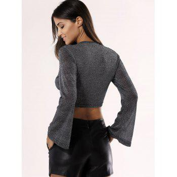 Glittery Hollow Out Crop Top For Women - GRAY 2XL