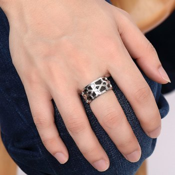 Elegant Geometry Hollow Out Ring For Men - SILVER/BLACK 11