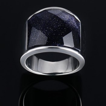 Stylish Stainless Steel and Blue San Embellished Ring For Men - BLUE