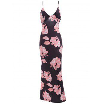 Plunging Neck Backless Floral Formal Maxi Slip Dress