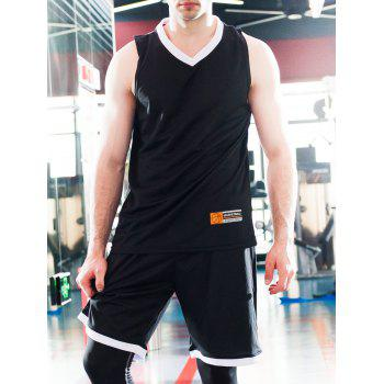 Splicing Design Applique V-Neck Sleeveless Men's Sports Suit ( Tank Top + Shorts )
