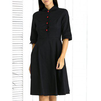Chic Button-Up Solid Color Flare Dress For Women