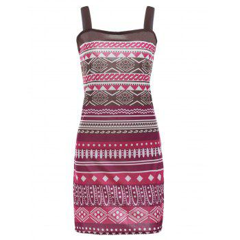 Square Neck Printed A-Line Aztec Print Dress