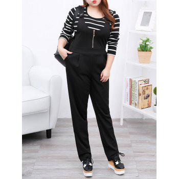 Plus Size Casual Zipper Fly Black Overalls