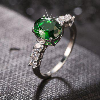 Rhinestone Oval Faux Emerald Ring
