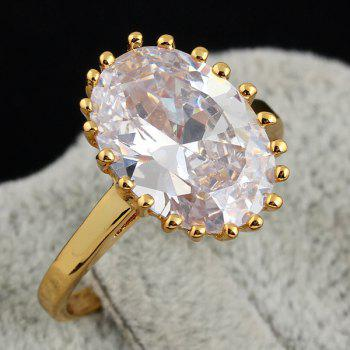 Alloy Oval Rhinestone Ring - GOLDEN
