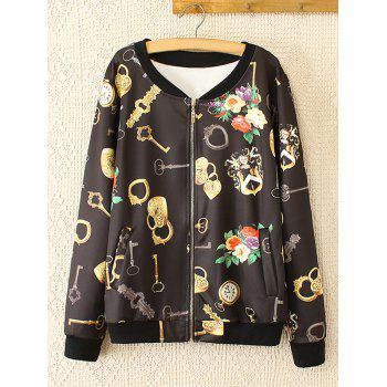 Oversized Sweet Key and Flower Print Jacket