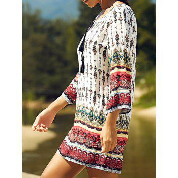 Retro Style Patchwork Printed Mini Tunic Dress - COLORMIX XL