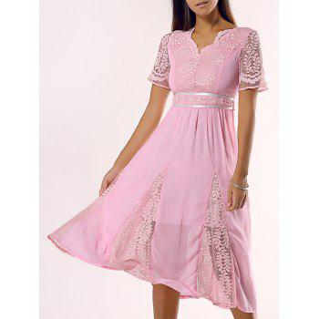 Vintage Lace Splicing Cut Out Midi Dress