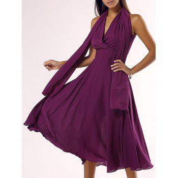 Alluring Plunging Neck Chiffon Midi Dress