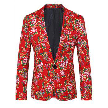 Lapel One Button Design Plus Size Chinoiserie Flowers Pattern Long Sleeve Men's Blazer