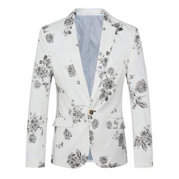 Lapel One Button Design Plus Size Floral Pattern Long Sleeve Men's Blazer