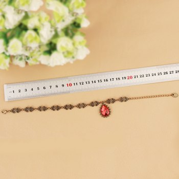 Retro Floral Hollow Faux Ruby Anklet For Women -  RED