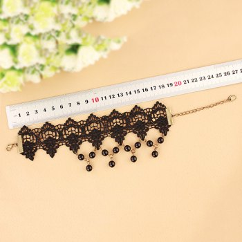 Faux Pearl Tassel Hollow Lace Anklet -  BLACK