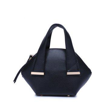 Buy Stylish Metal Trim Dark Color Design Women's Tote Bag BLACK
